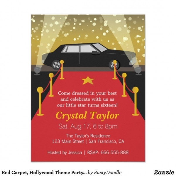 Red Carpet, Hollywood Theme Party, Girl Birthday Invitation