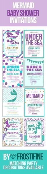 Mermaid Baby Shower Invitations, Printable Cards  Diy Baby Shower