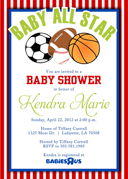 Cool Free Template Sport Themes Baby Shower Invitations