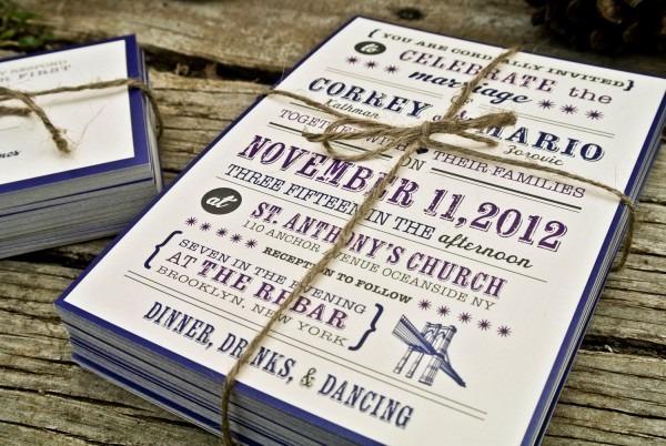 Wedding Invitation Rustic And Modern Brooklyn By Wideeyespaperco
