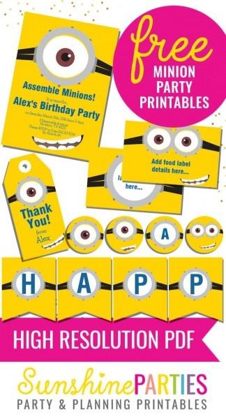 Totally Free Minions Party Printables Set