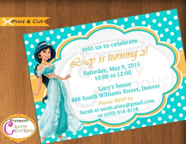Princess Jasmine Invitation For Birthday Party
