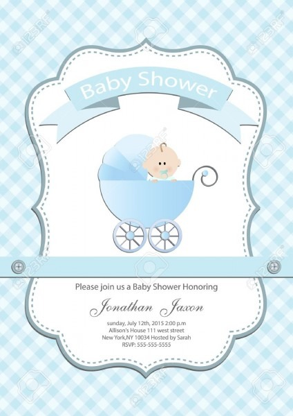 Baby Boy Baby Shower Invitation Card Royalty Free Cliparts