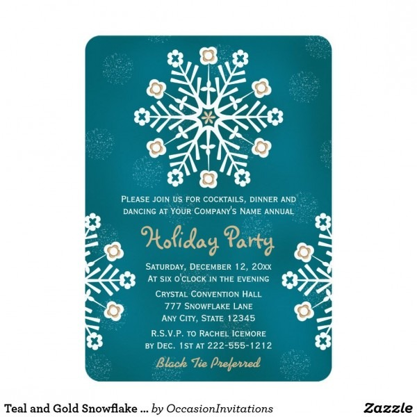 Teal And Gold Snowflake Corporate Holiday Party Invitation These