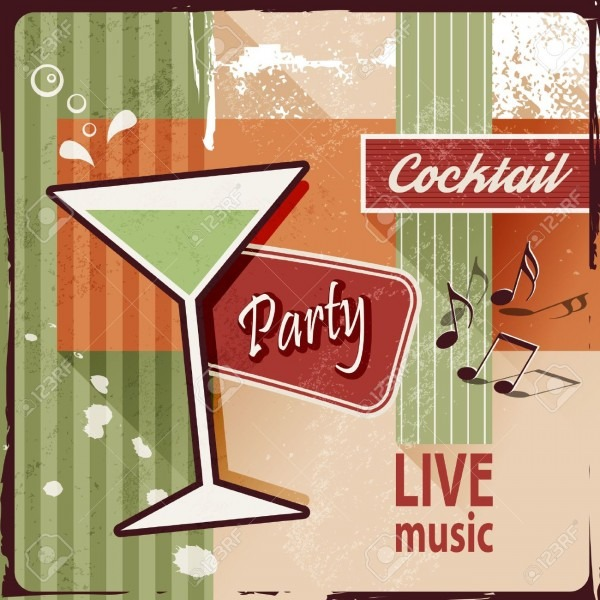 Cocktail Party Invitation With Music Notes