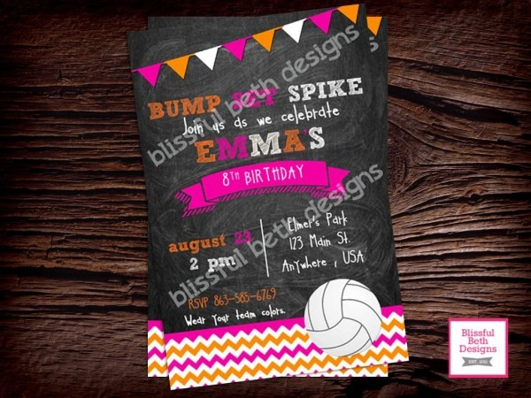 Bump Set Spike Volleyball Birthday Invitation, Printable