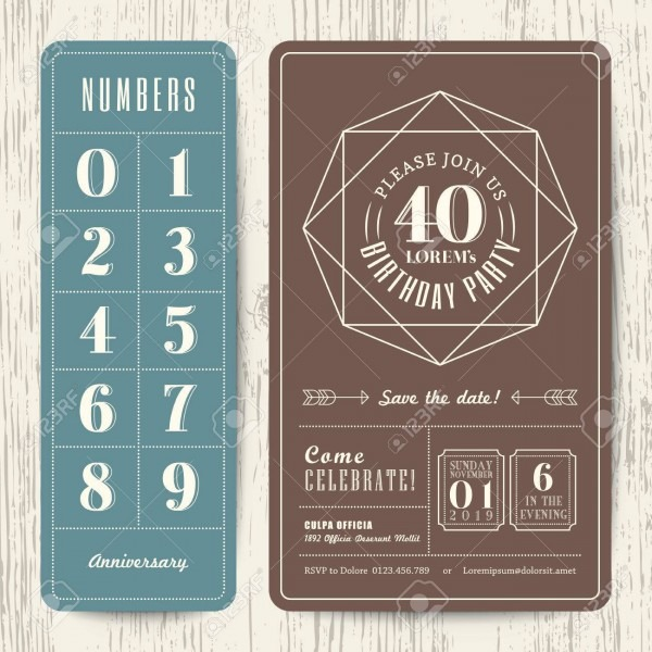 Retro Birthday Party Invitation Card With Editable Numbers