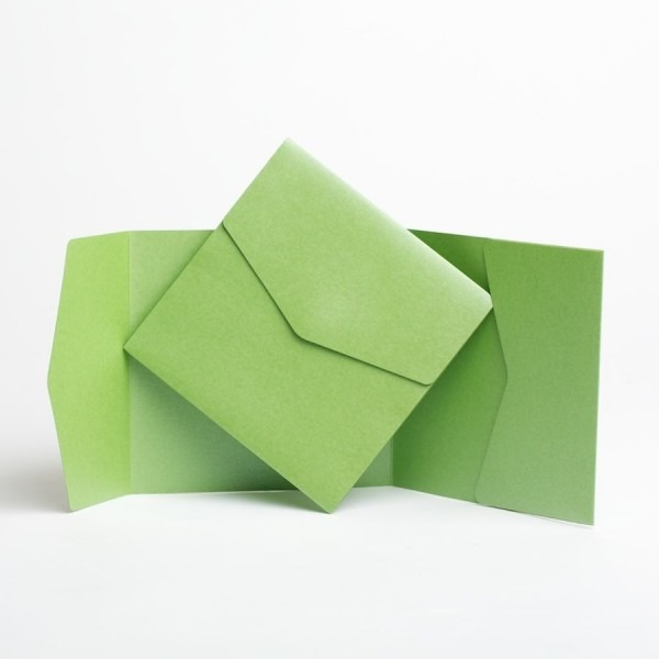 Apple Green Pearlescent Pocket Fold Invites  Pocketfold Wallet