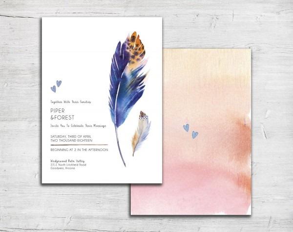 Blue Feathers Wedding Invitation Set