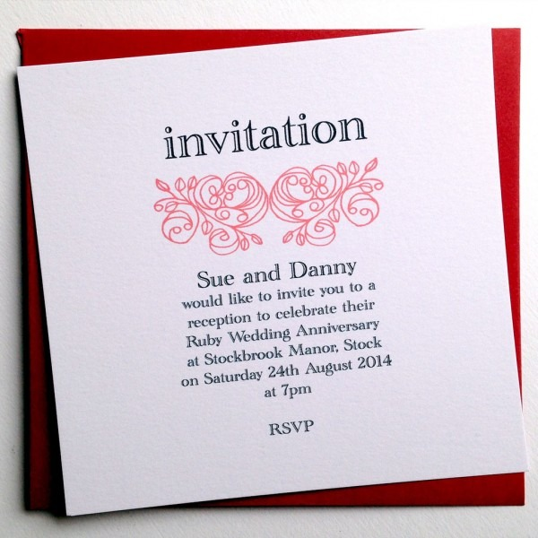 40th Wedding Anniversary Invitation Personalized Happy Wedding