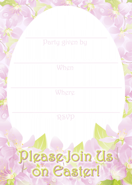 Free Printable Green And Purple Flowers Easter Invitation