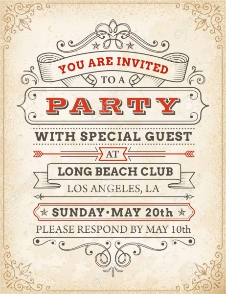 An High Detail Grunge Vintage Invitation Template To A Party