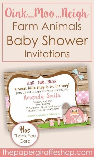 Farm Animals Baby Shower  Printable Invitation  Celebrate…