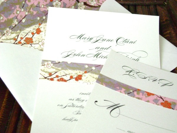 Asian Wedding Invitation With Japanese Paper And Lined Envelope