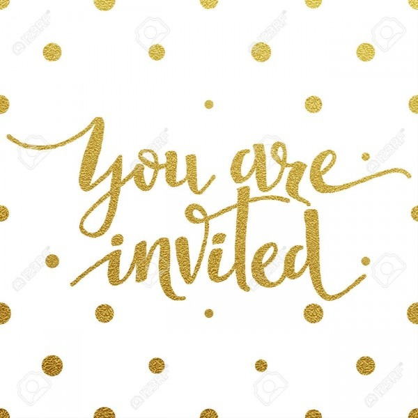 You Are Invited Card With Design Of Gold Letters On White