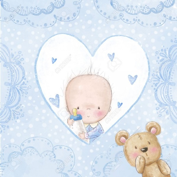Baby Shower Greeting Card Baby Boy With Teddy,love Background