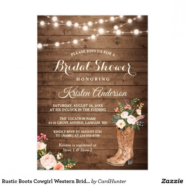 Rustic Boots Cowgirl Western Bridal Shower Card Rustic Country