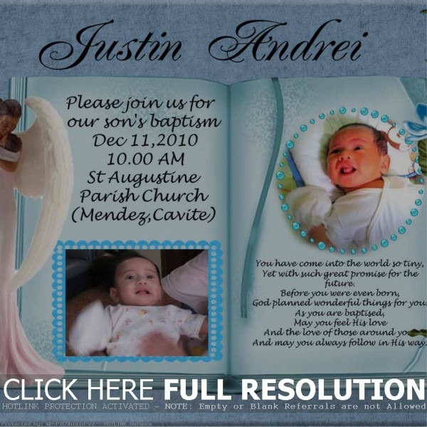 Baptismal Invitation Background Boy