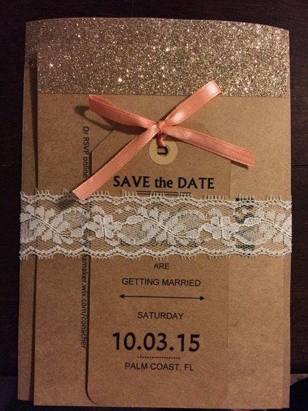 My Home Made Wedding Invitations  Kraft Paper And Lace  3