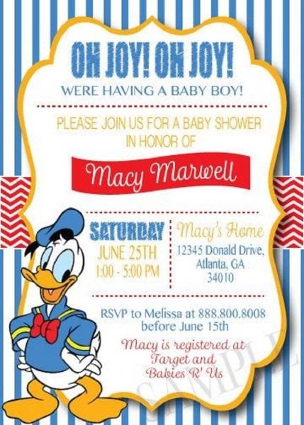 Donald Duck Baby Shower Invitations