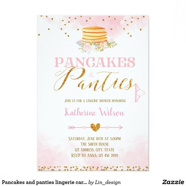Pancakes And Panties Lingerie Card Invitation Bridal Shower