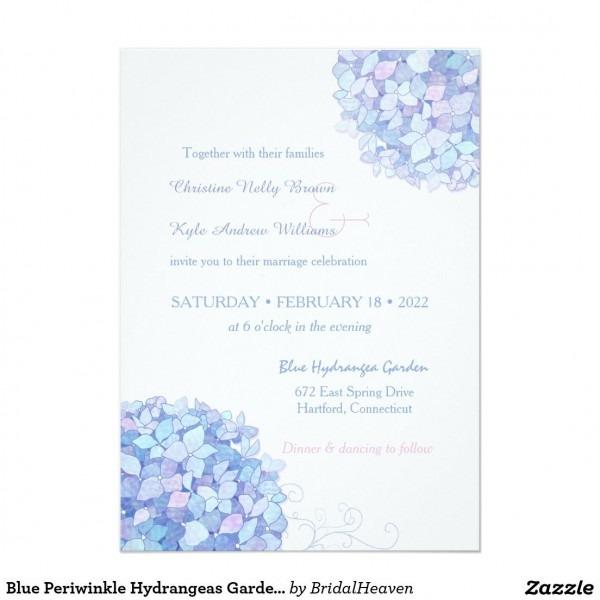Blue Periwinkle Hydrangeas Garden Wedding Invitation