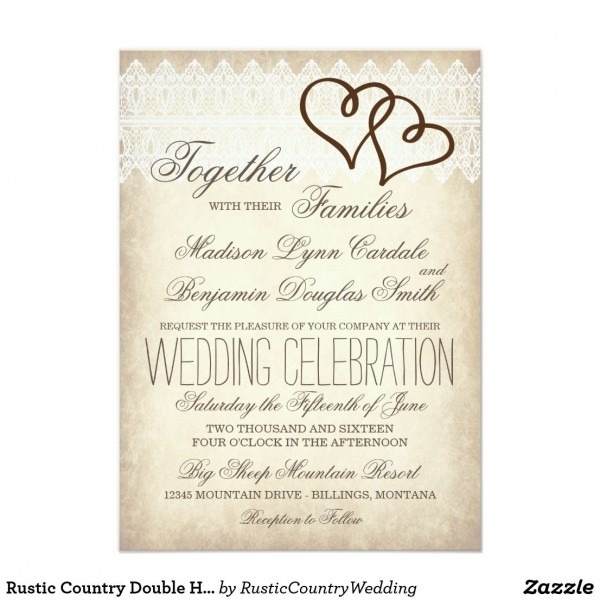 Rustic Country Double Hearts Wedding Invitations Unique Rustic