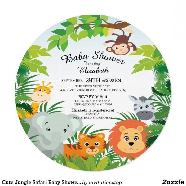 Cute Jungle Safari Baby Shower Invitations Super Cute Round Safari