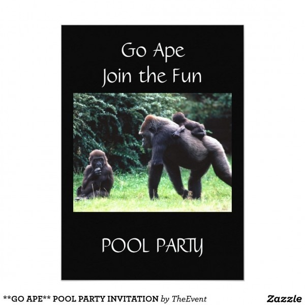 Go Ape   Pool Party Invitation