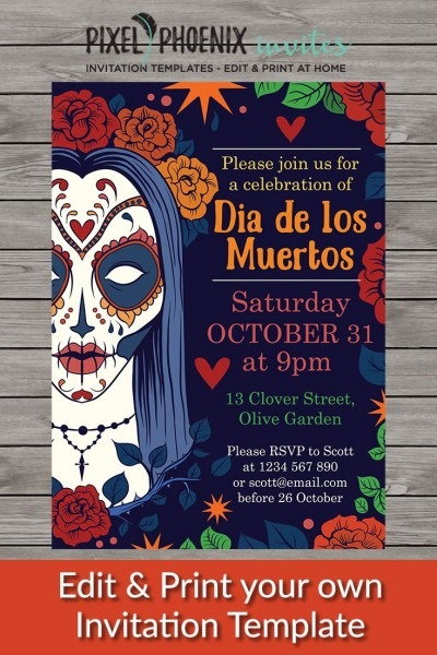 Halloween Party Invite, Day Of The Dead Invite, Halloween
