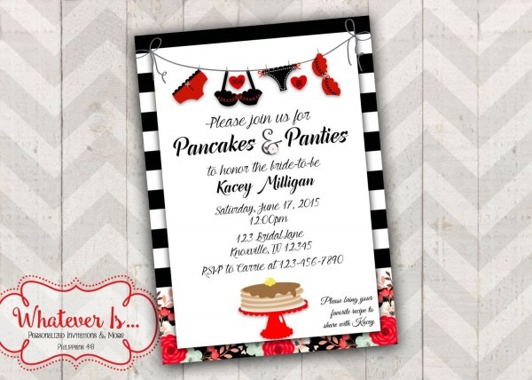 Pancakes And Panties Bridal Shower Lingerie Invitation By