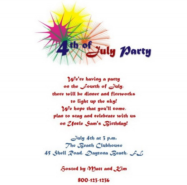 4th Of July Party Invitations 5 Wording
