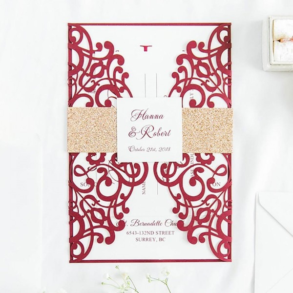 Design Fold Flower Lace Pattern Gold Flash Band Invitations Cards