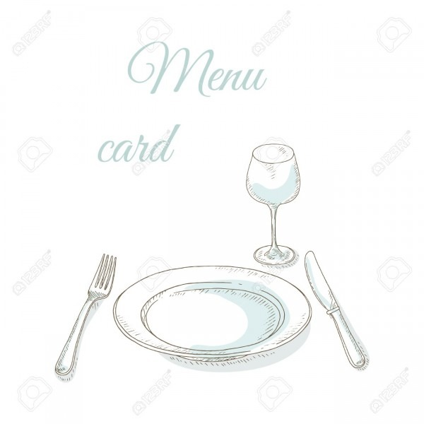 Empty Plate, Wineglass, Fork And Knife  Tableware Sketch