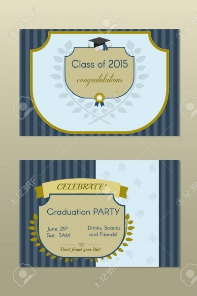 Vector Illustration Of Gold Graduation Certificate Or Postcard