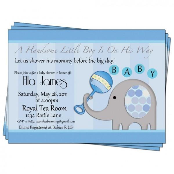 Party Invitation,baby Boy Shower Invitation Elephant Printable By