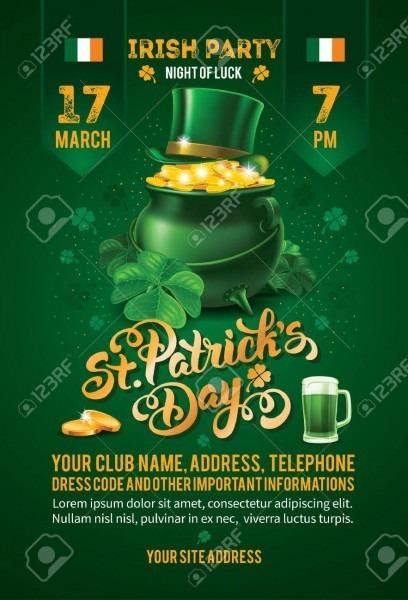 Saint Patricks Day Invitation Card Design With Treasure Of