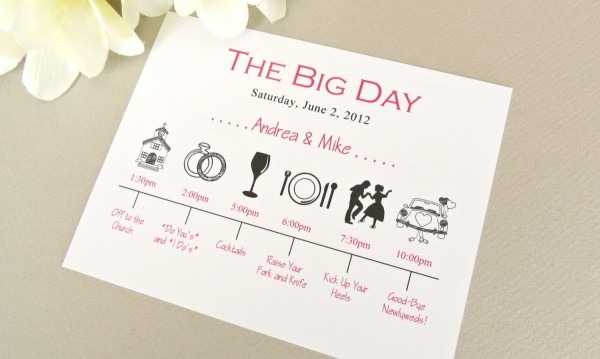 Wedding Day Timeline Schedule Of Events By Onetenstationery