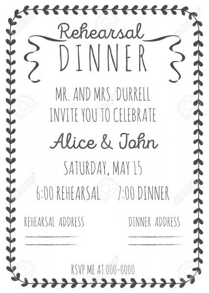 Vintage Wedding Invitation  Rehearsal Dinner Invitation Template