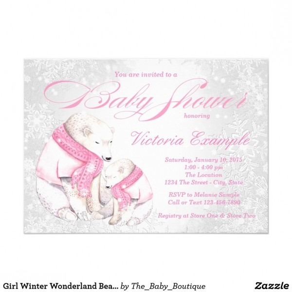 Girl Winter Wonderland Bear Baby Shower Invitation Girls Winter