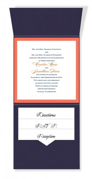 6 X 6 Vertical Folio Pocket Wedding Invitations