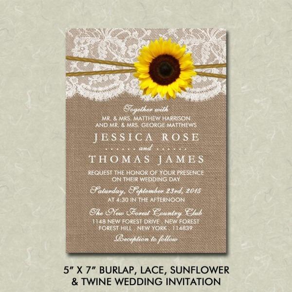 "5"" X 7"" Rustic Burlap, Lace, Sunflower & Twine Wedding Invitation"