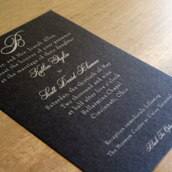 Black Tie Wedding Invitation With Black Paper And Silver Lettering