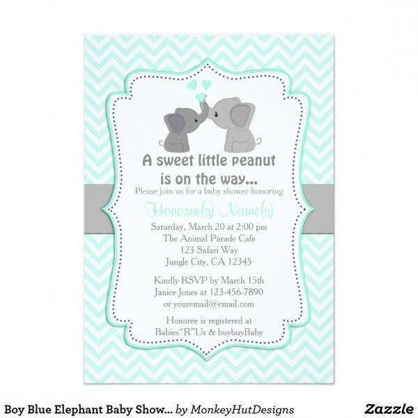 Boy Blue Elephant Baby Shower Invitations Chev 330 In 2019