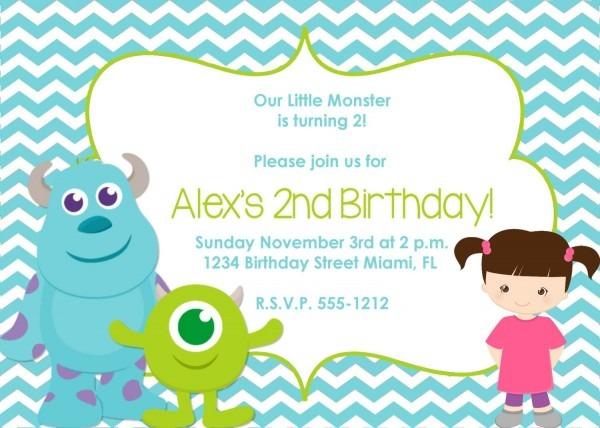 Monster Inc Birthday Invitation Inspired By Lovelifeinvites