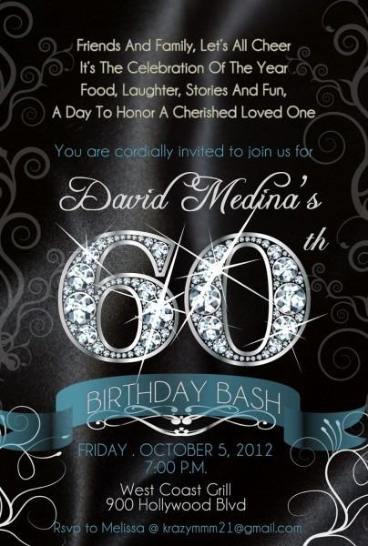 Free The Diva  Bling! Diamond Numbers Birthday Invitations