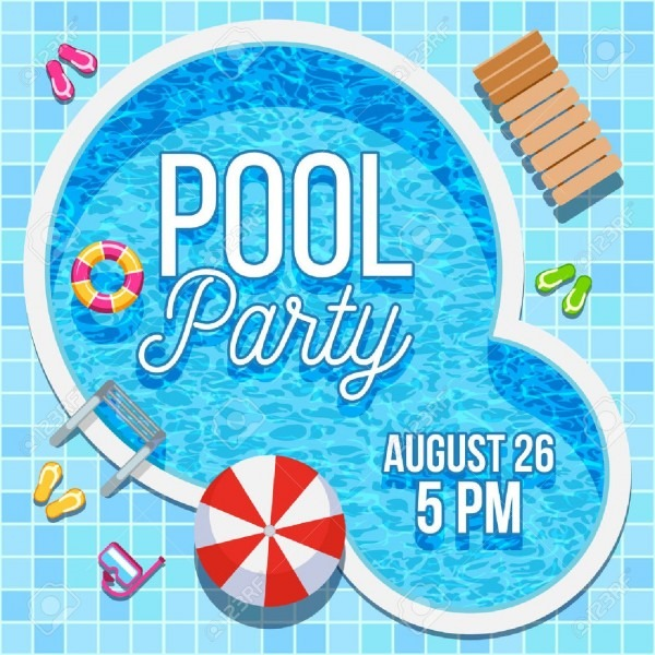 Summer Pool Party Invitation With Nobody Water Swimming Pool