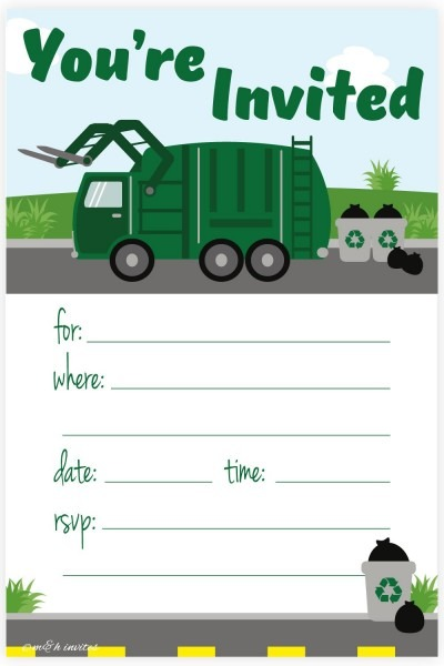 Amazon Com  Garbage Truck Birthday Party Invitations
