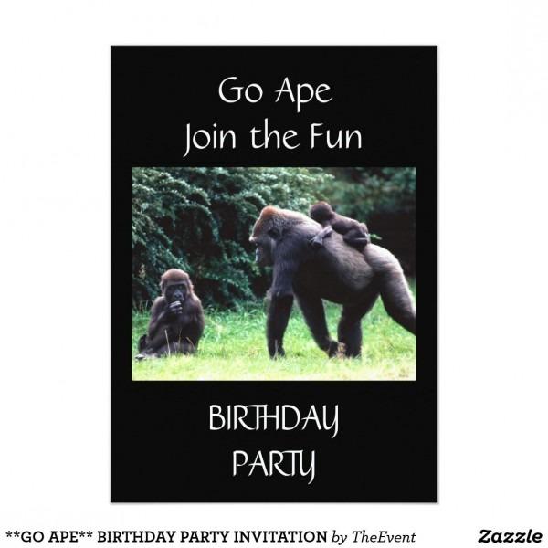 Go Ape   Birthday Party Invitation