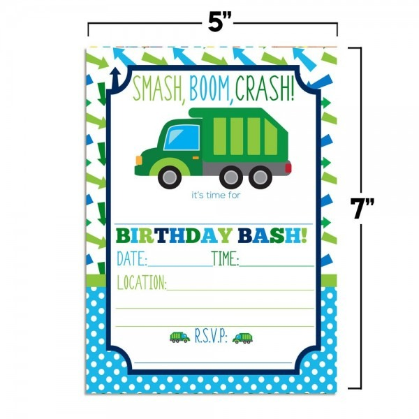 Amazon Com   Garbage Truck Birthday Party Invitations For Boys, 20